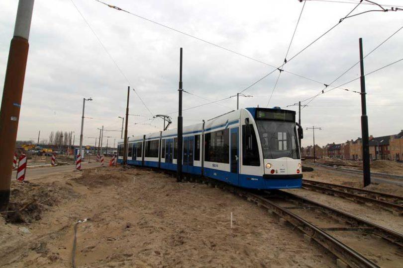 Tramlijn 9 opgebroken